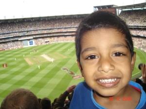My son Gautam making his Test debut (as spectator)!