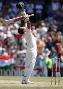 India's Tendulkar celebrates his century against Australia during the third day's play of their second test cricket match in Sydney